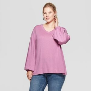 Ava Viv Pullover Sweater Womens Plus Size V-Neck